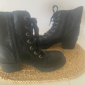 Sugar Corah Boots Moto Double Zip Lace Black